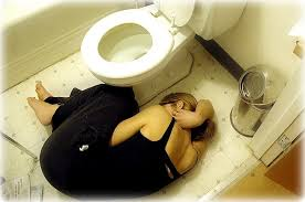 Woman by Toilet